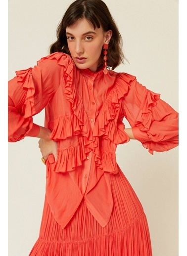 Rue Çapraz Fırfır Detaylı Transparan Gömlek Kırmızı